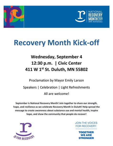 recovery alliance duluth recovery month kick