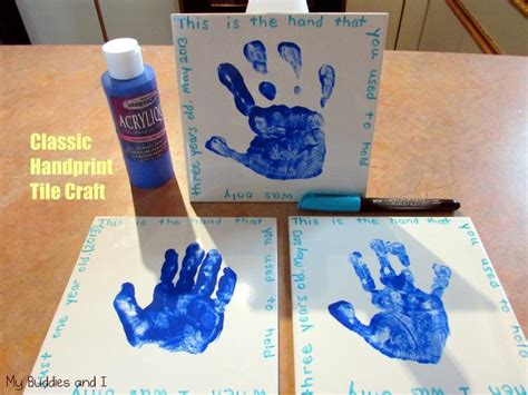 tile craft handprint tile craft for the kids to make some kid