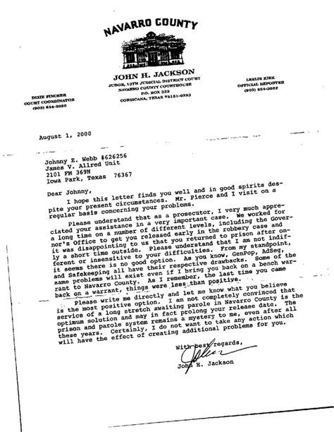 Proof Of Incarceration Letter Letter Of Testimony Free Printable Documents