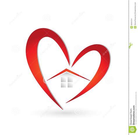 heart pattern logo house and heart swoosh logo stock vector illustration of