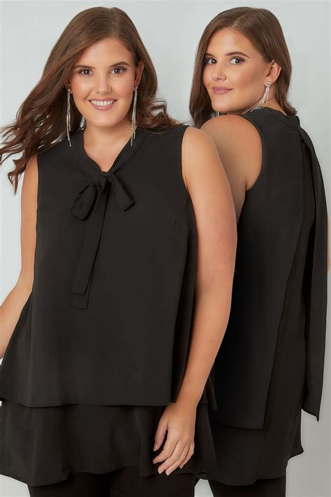 Napoclean Strong By Nry Fashion black layered blouse with bow tie plus size 16 to 36