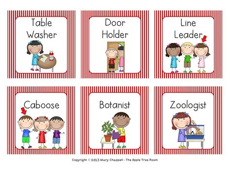 printable job card the apple tree room 2 sets of job cards