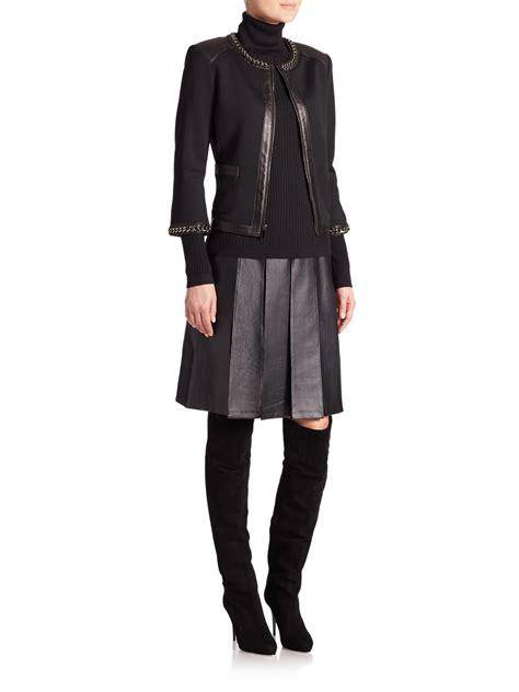 St Dress Jaket lyst st leather and chain trimmed knit jacket in black