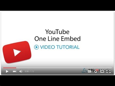 tutorial html youtube youtube one line embed video tutorial youtube