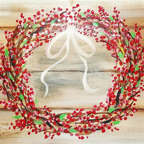 acrylic painting canvas tutorial rustic wreath with any color berries acrylic painting