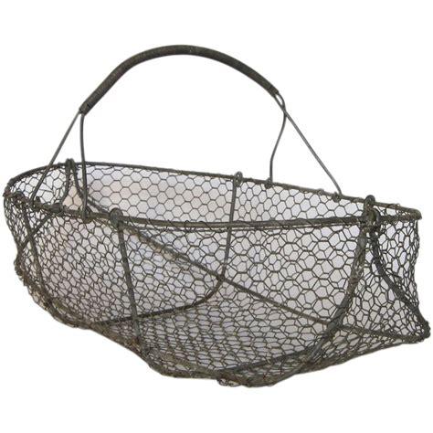 Garden Harvest Basket by Vintage Wire Basket Garden Harvest Gathering Basket