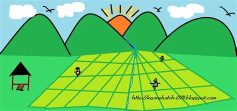 gambar lukisan pemandangan sawah padi
