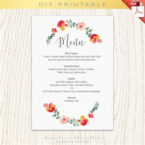 template menu beautiful diy wedding menu template photos styles