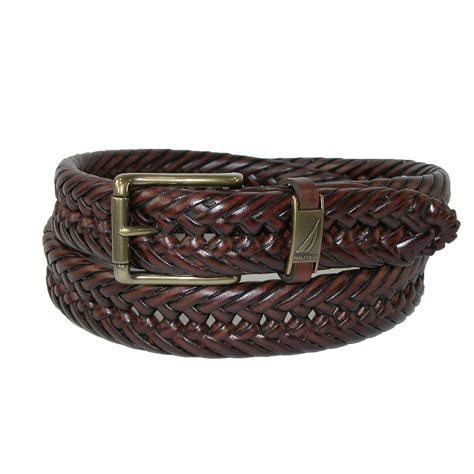 Woven Belt mens leather 1 1 4 inch handlaced basket weave braided