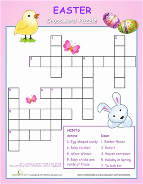 printable easter puzzle easter crossword puzzle for kids worksheet education com