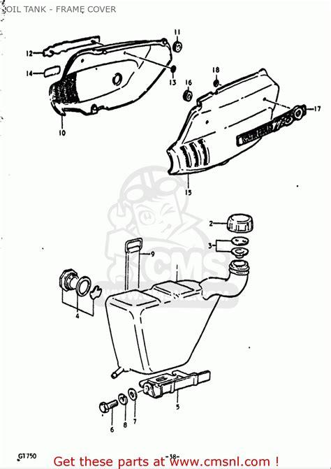 Suzuki Gt750 Parts List Suzuki Gt750 1972 J Usa Tank Frame Cover