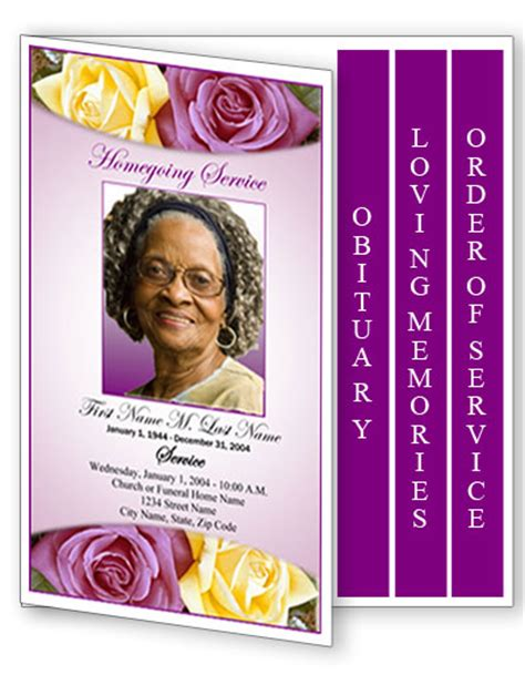 10 Best Images Of Memorials Funeral Program Templates Purple Free Funeral Obituary Programs Free Funeral Program Template 2010