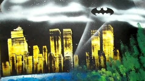 spray paint cityscape spray paint gotham city