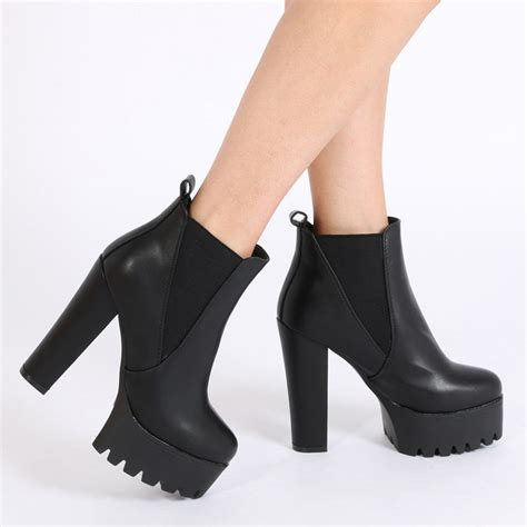 boots high heels hallie black pu high heel chelsea boots desire
