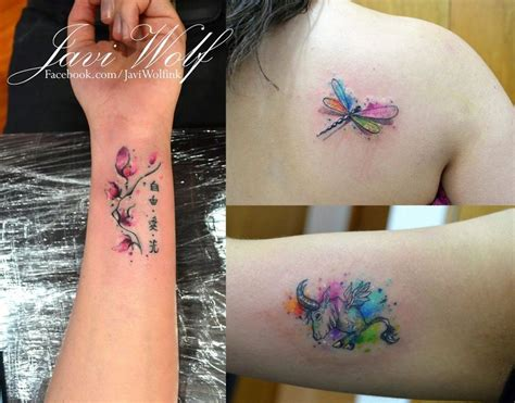 watercolor tattoo lettering small watercolor tattoos tattooed by javiwolfink unique
