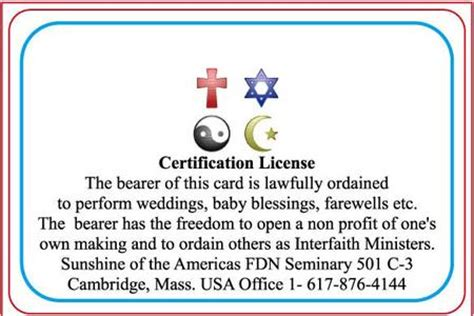 minister license id card template ordination template