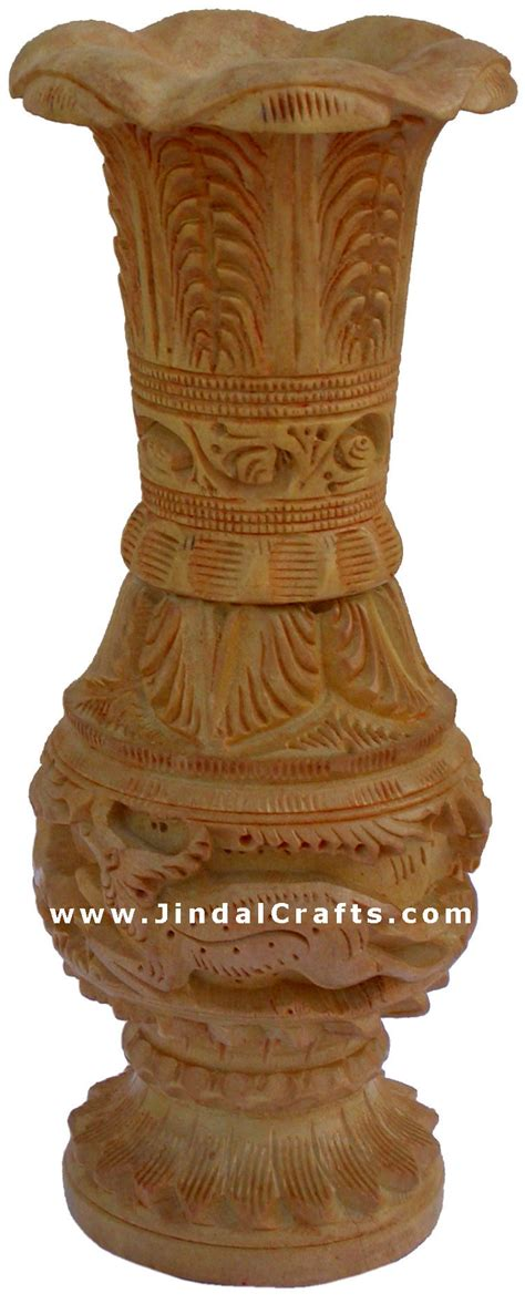 Wooden Decorations For Home Hand Carved Wooden Decorative Vase India Fair Trade Art