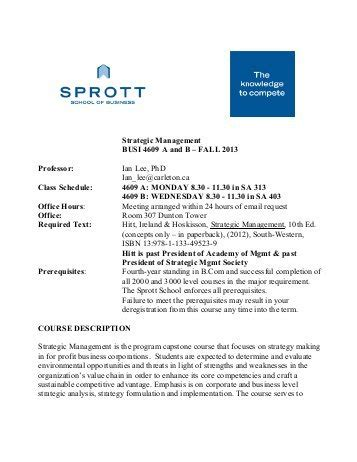 Sprott School Of Business Mba by Busi 3103 A B C Sprott School Of Business Carleton