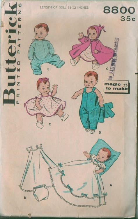 vintage butterick baby doll clothes sewing pattern ebay