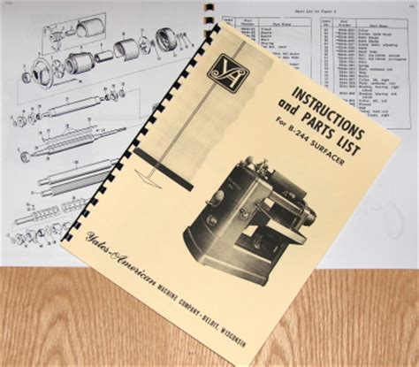 Yates American B244 Surfacer Planer Operator Amp Parts Manual