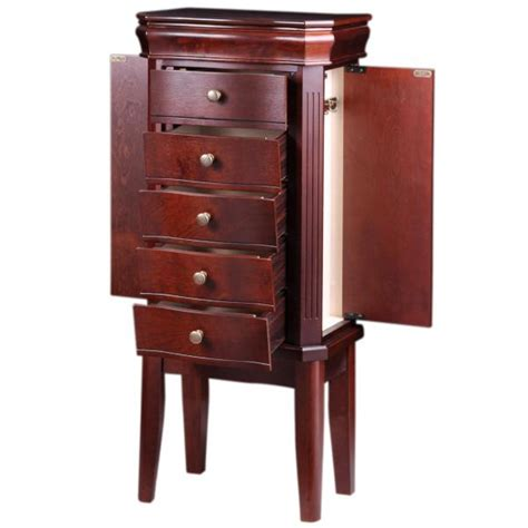 s standing jewelry armoire w mirror in cherrywood