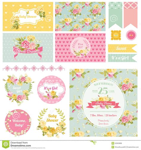 background birthday theme for babies baby shower flower theme stock vector image 52063898