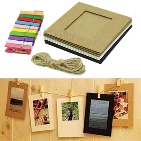 10 paper photo diy wall picture hanging frame album rope free shipping 10pcs 3inch paper photo flim diy wall