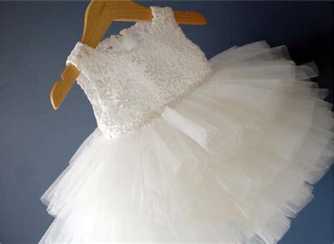 Dress White Babyborn newborn baby frocks toddler 1st birthday dress fluffy white baby dresses for baptism