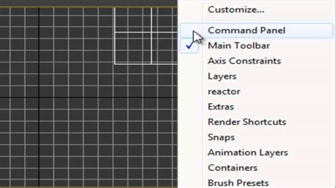 how to a show how to found a command panel bar on autodesk 3ds max