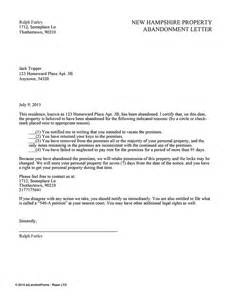Rental Abandonment Letter New Hshire Property Abandonment Letter Ez Landlord Forms