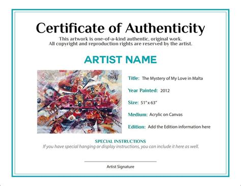 artist certificate of authenticity template artist certificate of bill of sale certificate of authenticity agora gallery