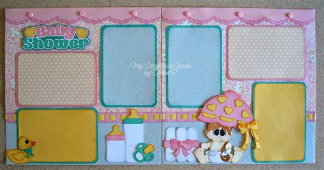 Baby Shower Scrapbook Pages by My Scrapbook Garden Baby Shower Layout