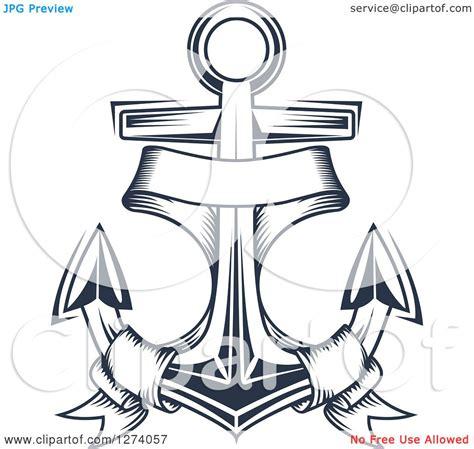 doodle jangkar clipart of a navy blue nautical anchor and banner 2