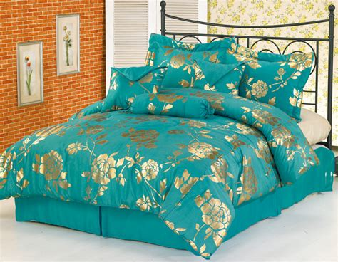 Teal Bed Set by 7pcs Teal Floral Metallic Bedding Comforter Set King Ebay