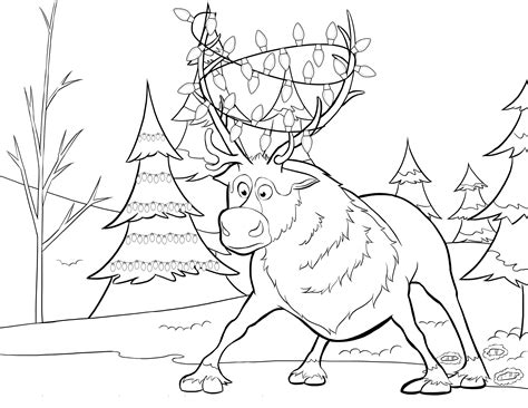 frozen story coloring pages sven tangled in lights twistermc