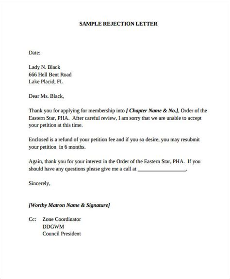 Decline Deal Letter 37 Rejection Letter Sle Free Premium Templates