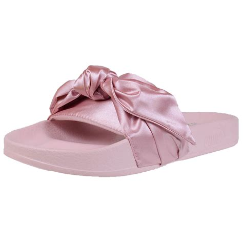 pink sandals with bow by rihanna fenty s bow slide sandals pink olive