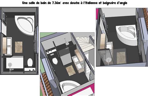 une salle de bain de 7m 178 avec 224 l italienne et baignoire d angle projet r