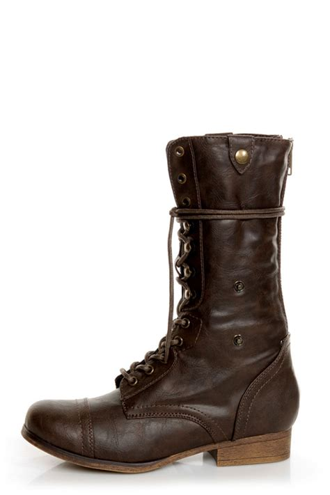 bamboo 01 brown lace up convertible combat boots