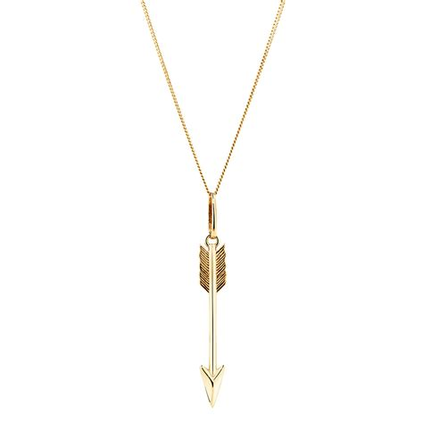 Pendant Necklace Gold With I You arrow pendant in 10ct yellow gold