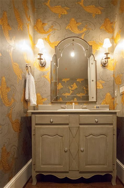 bathroom wallpaper fish gray and gold powder room transitional bathroom lucy