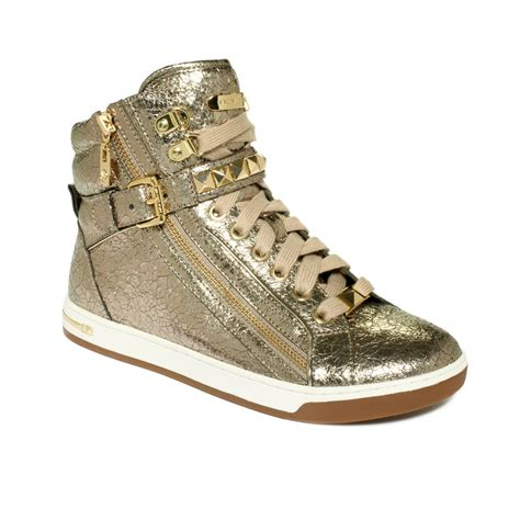 mk sneakers michael kors mk city sneaker in metallic lyst