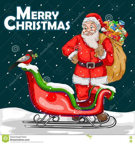 merry christmas festival celebration background stock vector illustration  celebrate sledge