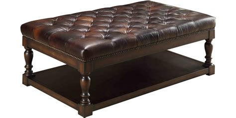 Vintage Leather Ottoman Coffee Table In Espresso Finish Plus Four Carved Leg And Storage Shelf