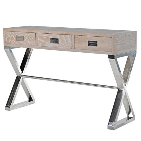 X Leg Console Table Washed Wood Chrome X Leg Console Table Mulberry Moon
