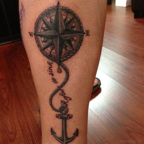 anchor compass tattoo 41 stylish compass tattoos for leg
