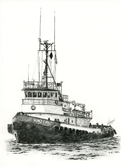 tugboat sidney foss drawing by james williamson