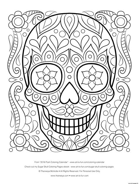 sugar skull coloring page pdf free sugar skull by thaneeya calavera coloring pages printable