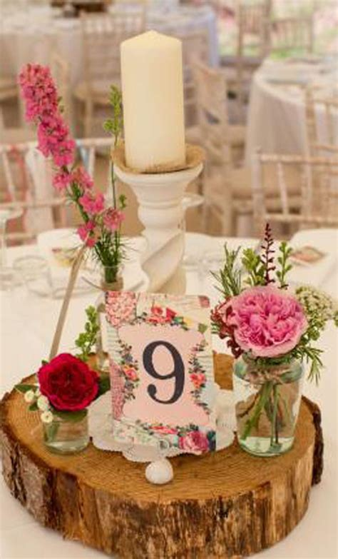creative uses of wood log and slice for wedding decoration