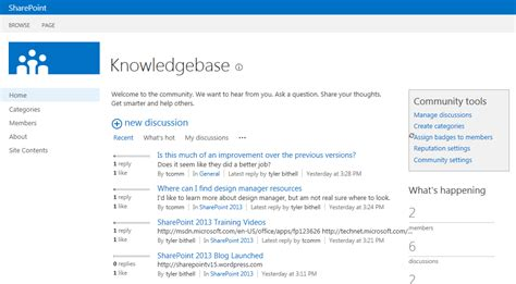 knowledge base template sharepoint 2013 sharepoint 2013 community sharepointv15